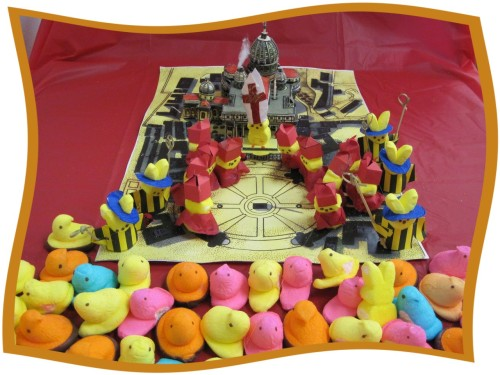 """The First Peep Pope"" by Terri Turner from the Seattle Times' Annual Peeps Contest. Click on the picture to go to the slideshow of more wildly creative Peeps panoramas."