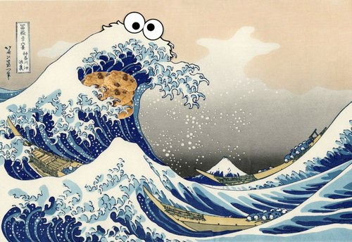 The Great Wave - Cookie Monster