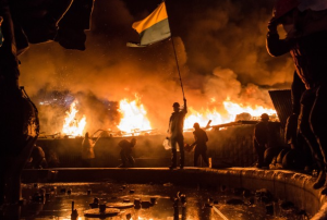 Kiev is on fire as the battle between pro-Putin forces and anti-Putin rebels intensifies.