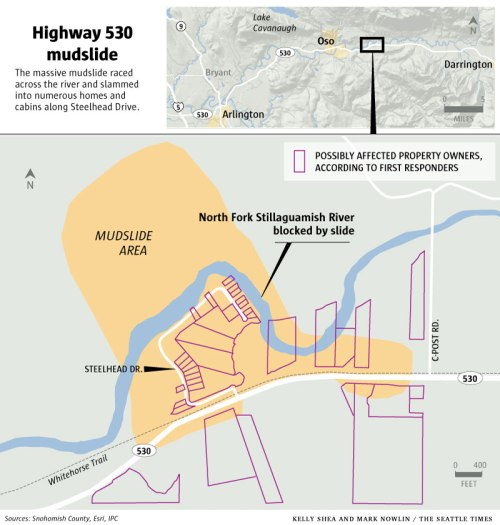 Oso Mudslide Map. From the Seattle Times.