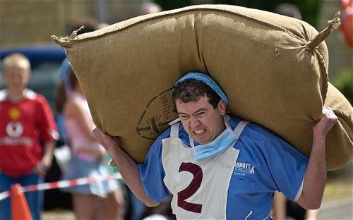 Woolsack carrying. From The Telegraph.