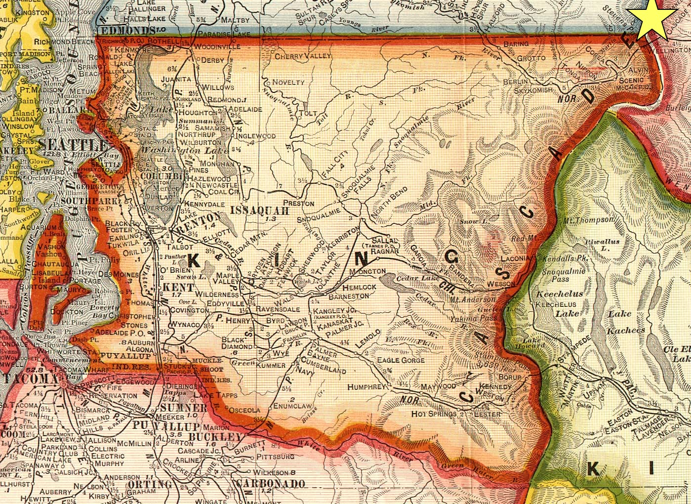King County, 1909, from U.S. GenWeb Project. Wellington is in the extreme northeast corner.