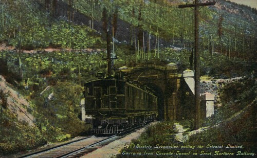 Old Cascade Tunnel, Oriental Limited, 1918, from Wikipedia